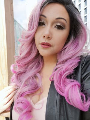Pink Ombre With Dark Roots Wavy Lace Front Synthetic Wig LF1291