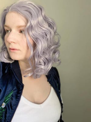Pastel Lilac Wavy Lace Front Synthetic Wig LF771D