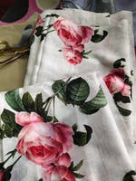 (Pre-Cut)Satin Slub Digital White Floral Printed Fabric