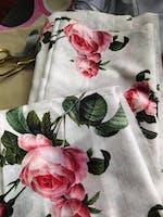 (Pre-Cut)Satin Slub Digital White Floral Printed Fabric