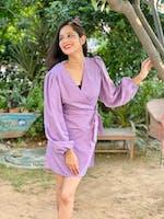 V-Neck High Waist Lantern Sleeve French Long Sleeve Short Dress