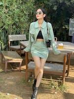 Green Slim Casual Skirt Suit Set